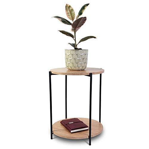 Bijzettafel rond Ø40 cm H50 cm metalen frame natuur/zwart met MDF-platen - salontafel woonkamertafel koffietafel