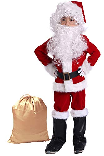Takuvan Complete Christmas Boy's 10PCS Santa Suit Children Halloween Costume XS