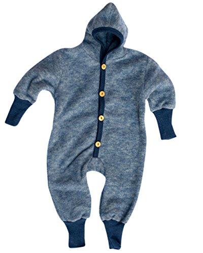 Cosilana Baby Kinder Fleece Overall mit Bündchen am Armen und Füßen, 60% Wolle (kbT), 40% Baumwolle (KBA) (98/104, Marine Melange)
