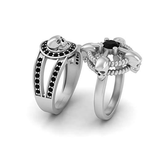Anillo de compromiso redondo de 1,0 quilates con calavera de ónix negro creado en laboratorio, anillo de compromiso para él y para ella, anillo de pareja de oro blanco sólido de 14 quilates