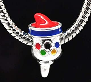 Olympics 3D Olympic Torch 18mm Enamel Silver Plated Large 5mm Hole Charm Bead Jewerly Making Supply Bracelet DIY Crafting by Easy to be happy!