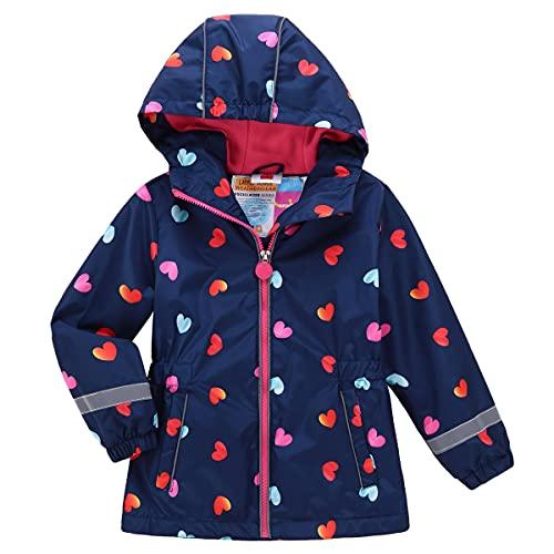 Kinder Mädchen Matsch und Buddeljacke Regenmantel Regenjacke Frühlingsjacke Softshell Jacke mit Fleece Innenfutter(Typ 8,110-116)