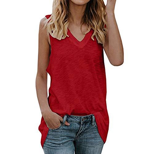 Qmber Frauen Sleeveless Reine Farbe Spitze Plus Größen Weste übersteigt lose T-Shirt Bluse 2057 Sommer Lockere WesteTunika Baumwolle/Rot,L