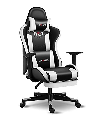Shuanghu Gaming Chair Office Chair Ergonomic PC Computer Chair with Retractable Footrest Reclining Racing Chair with Headrest and Lumbar Support Gaming Chair for Adults Teens Desk Chair (White)
