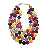 Statement Multicolor Wood Bead Chunky Layered Necklace For Women Multi Layer Color Wooden Beaded Bib Necklace For Women Long Strand African Necklace For Women Fashion Jewelry Costume (Multicolor)