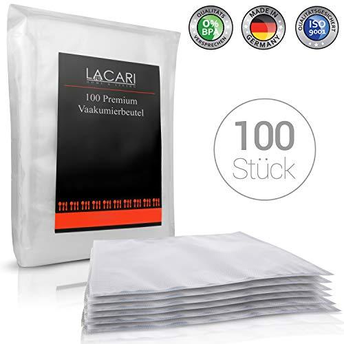Lacari ® [100x] Vakuumbeutel - [20x30 cm] - Perfekt zum Sous Vide Garen geeignet - Vakuumierbeutel für alle Folienschweißgeräte