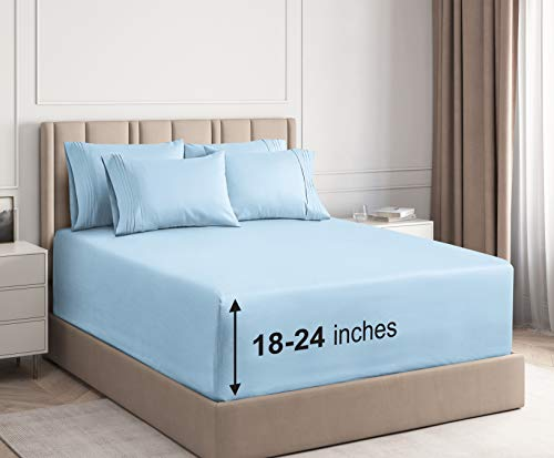 CGK Unlimited Extra Deep Pocket Sheets - California King Size Light Blue - Cal King - Super Deep Pocketed Bed Sheet Set - Deep Fitted - Oversize Bedding