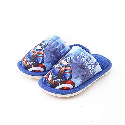 Zapatillas de algodón para niños, zapatos de la habitación de cuento de hadas de dibujos animados, invierno antideslizante cómodo y zapatos de algodón suave cálido,Royal blue,220