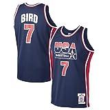 XXJJ Camiseta de baloncesto Lārry Bird # 7, azul marino USA Basketball Home 1992 Dream Team Authentic Jersey (S-XXL), sin mangas, para fans Blue-XL