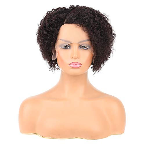 Huarisi Pelucas Mujer Pelo Natural Rizado Corto Peluca Cabello Humano Brasileño Kinky Curly Hair Wig Side Part Curly Wigs for Women L Part Wigs Lace Front Wig 100 Real Hair Natural Colour