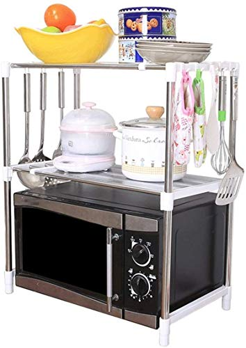 Kitchen Dish Drying Rack, Microwave Oven Stand Microwave Rack Shelving Unit 2-Tier Adjustable Stainless Steel Storage Shelf with 8 Hooks Kitchen Baker's Rack (Color : Silver, Size : 90X30.5X62.8CM) ,D
