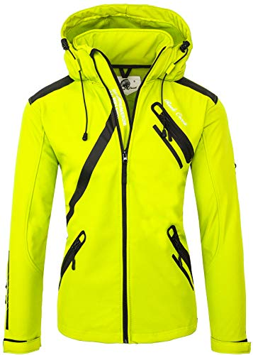 Rock Creek Herren Softshell Jacke Outdoor Regenjacke Softshelljacke Windbreaker Laufjacke Wanderjacke Funktions Sport Jacken H-127 Neonyellow S