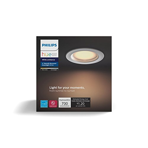 Philips Hue White Ambiance Dimmable LED Smart Retrofit Recessed Downlight (4-Inch Compatible with Amazon Alexa Apple HomeKit and Google Assistant)