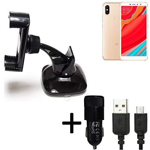 K-S-Trade® Top Set para Xiaomi Redmi S2 Montaje Compacto Parabrisas Tablero De Instrumentos + Cargador De Coche Sostenedor Soporte Tablero De Instrumentos Negro para Xiaomi Redmi S2