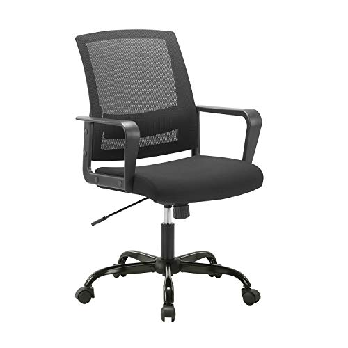 CLATINA Ergonomic Rolling Mesh Desk Chair with Executive Lumbar Support and Adjustable Swivel Design for Home Office Computer Black