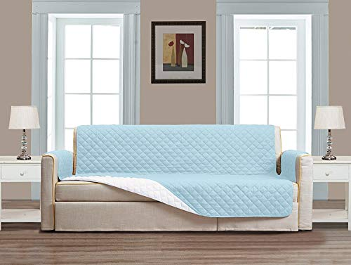 "Superior Quality Reversible Large Couch Cover 118"" X 76""-Furniture Protector For Pets, Kids, Dogs-Large Sofa, Standard Sofa, Loveseat, Recliner and Chair (Extra Wide Sofa-Light Blue / White)"