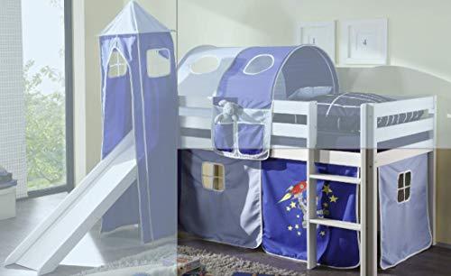 Jugendmöbel24.de Vorhang Astronaut 3-teilig 100% Baumwolle Kinderzimmer Stoffvorhang inkl Klettband Stockbett Kinderbett Spielbett Etagenbett Hochbett