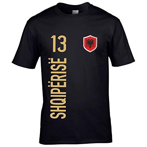 FanShirts4u Kinder Fanshirt Trikot Jersey ALBANIEN/ALBANA T-Shirt inkl. Druck Wunschname u. Wunschnummer EM WM (7/8 Jahre 122-128 cm, SHQIPËRISË/Schwarz)