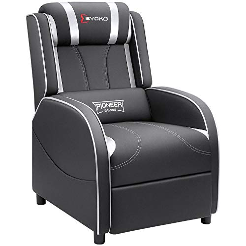 Devoko Gaming Recliner Chair PU Leather Home Theater Seating Single Modern Living Room Sofa Recliners (Silver)