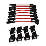 A-Team Performance D585 Ignition Coils & 11' 8.0mm Spark Plug Wires Compatible With Chevrolet GMC GM LS LSX LS1 LS2 LS3 LS6 LS7 Black Coils and Red Wires