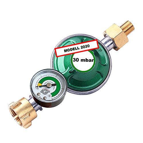 CAGO Gasregler 30 mbar mit Manometer Gas Füllstandsanzeige Schlauchbruchsicherung Druckminderer Camping Druckregler für Butan Gasflasche