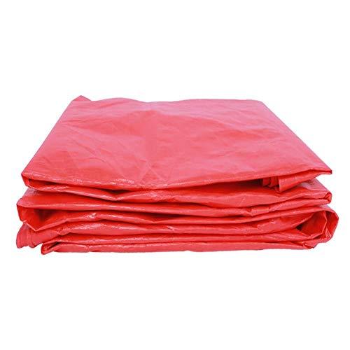 Lona Impermeable Polietileno de Alta Resistencia Espesar Durable A Prueba de Viento Protección Solar Proteger de la Lluvia Gazebo de jardín al Aire Libre Rojo 11 tamaños (Color: Rojo Tama