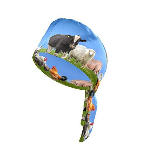 Gorra de trabajo para mujer con botn y banda para el sudor, reutilizable, con impresin 3D, gorro de trabajo, ajustable, para adultos, aves de corral, granja y gallina