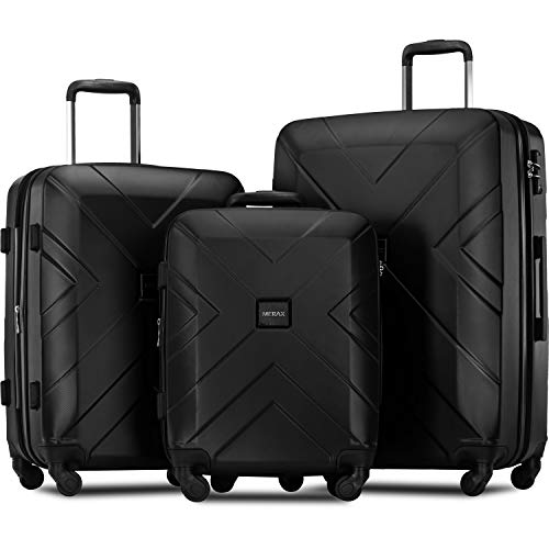 Merax 3 Piece Luggage Sets Expandable ABS Spinner Suitcase with TSA Lock 20 inch 24 inch 28 inch (Classic Black)