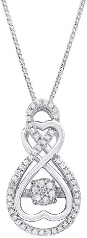 Dancing Diamond Forever Love Two Hearts Pendant Necklace in 925 Sterling Silver by Parade of product image