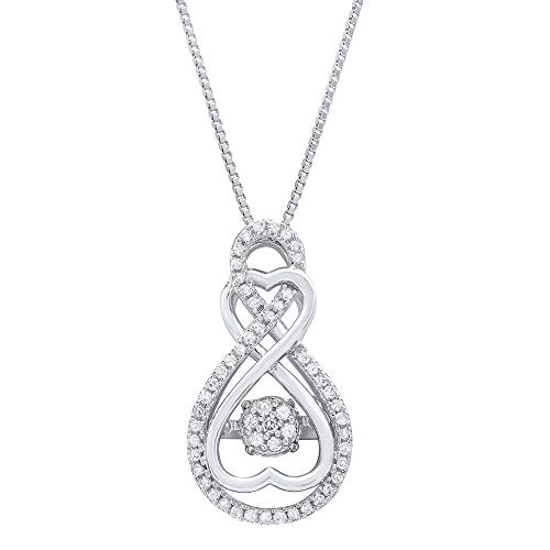 Dancing Diamond'Forever Love' Two-Hearts Pendant Necklace in 925 Sterling Silver by Parade of Jewels (1/4 ct.tw.), 18'
