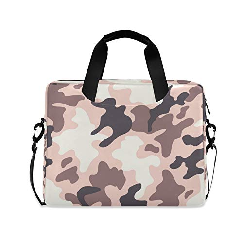 OOWOW Laptop Bag for Women Men Pink Military Camo Pattern Lightweight Briefcase 14 15.6 16in Laptop Sleeve Case Computer Shoulder Messenger Bag