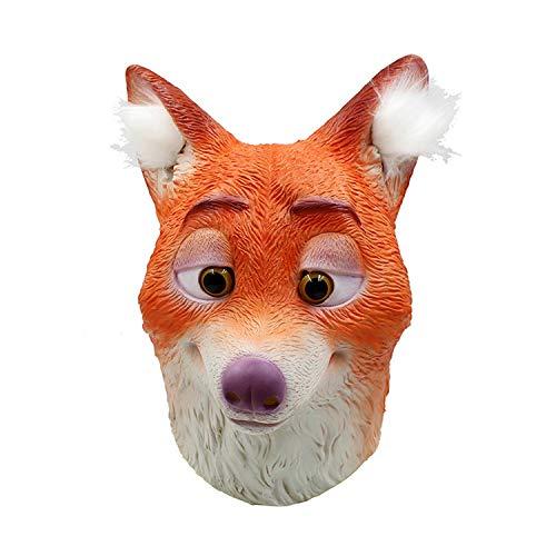 WYJSS Mscara de Zorro de ltex Mscara de Cabeza de Animal de Halloween Fiesta de Disfraces de Cosplay Novedad Vestido Encantador Regalos Divertidos Vestir Apoyos,Orange-OneSize