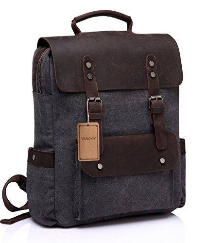 Leather Laptop Backpack,Vaschy Casual Canvas Campus School Rucksack with 15.6 inch Laptop Compartment