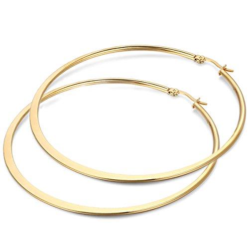 JewelryWe Schmuck Damen Ohrringe, 73mm Flache runde große Creolen Ohrhänger, Edelstahl, Gold