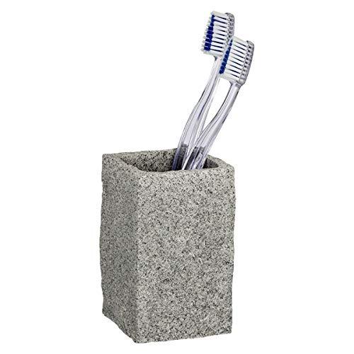 Wenko Zahnputzbecher Granit, Zahnbürstenhalter für das Badezimmer, Becher aus Kunststoff in Stein-Optik, 6 x 10,5 x 6 cm, grau