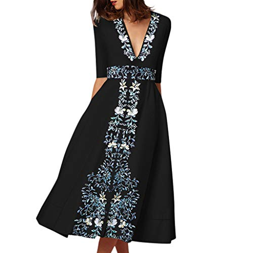 Sannysis Strandkleider Damen Elegant Kleid Lang Vintage Hippie Böhmen Ethno Style Druck Halber Ärmel V-Ausschnitt Sommerkleider Mode Kleider Boho Winterkleid Maxikleid (XL, Blau)