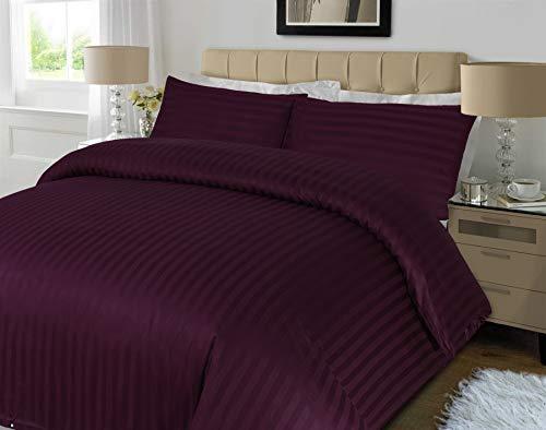 Sapphire Collection 100% Stripe TC400 Egyptian Cotton Duvet Quilt Cover Pillow Cases (Double, Plum)