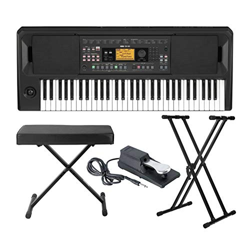 Korg EK-50 Entertainer Keyboard with Knox Adjustable X Style Keyboard Bench, Adjustable Keyboard Stand and Sustain Pedal Bundle (4 Items)