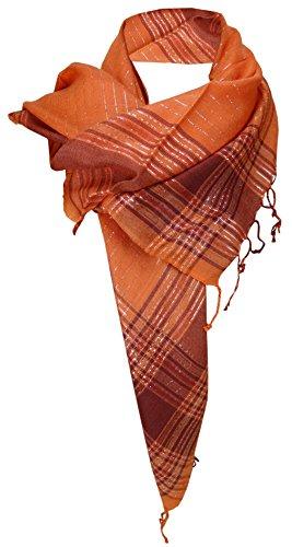 TigerTie pañuelo naranja plata cuadros con refriega - resplandeciente