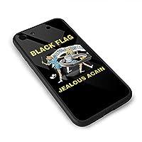 Black Flag ブラック・フラッグ IPhone8 ケース IPhone7 ケース アイフォン7/8 ケース スクエア型 リングホルダー付き スマホリング付き 強化ガラス背面 2020新型 ボーグ スマホケース 全面保護ケース 超軽量 塵・キズ・落下防止 高耐久ケース ソフト 滑り止め メンズ 保護カバー