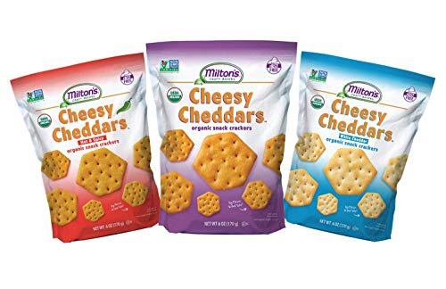 Milton's Organic Cheesy Cheddars Crackers, 3 Flavor Variety Bundle. Crispy & Organic Baked Grain Crackers (White Cheddar, Hot & Spicy, and Cheesy Cheddars, 6.0 oz).