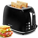 2 Slice Toaster, Keenstone Extra Wide Slot Toaster, Retro Bagel Toaster with 6 Bread Shade Settings, Defrost/Bagel/Cancel Function, Removable Crumb Tray, Stainless Steel Toaster, Black