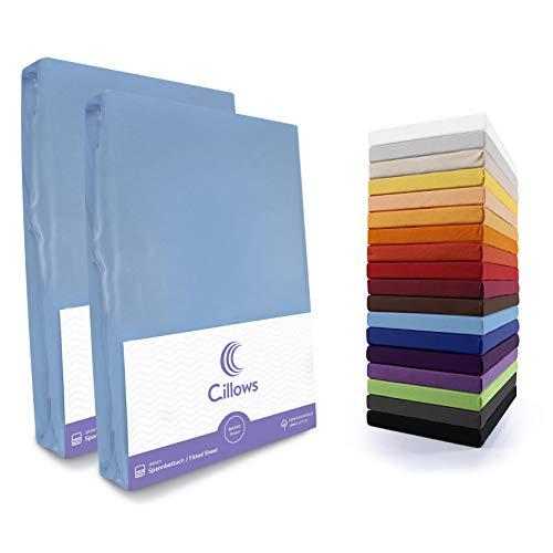 Cillows 2er Pack Basic Jersey Spannbettlaken Spannbetttuch - ca. 130g/m2 - Öko Tex Zertifikat - 100% Jersey Baumwolle - 90x200-100x220 bis 25 cm hohe Matratzen - Hell Blau