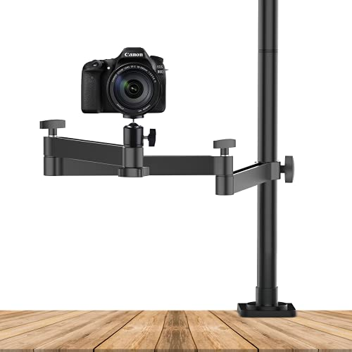 ULANZI Camera Desk Mount Stand with Flexible Arm, Overhead Camera Mount, Articulated Arm with 360° Rotatable Ball Head, Aluminum Desk Mounting Stand for Ring Light/DSLR Camera/Webcam/Panel Light