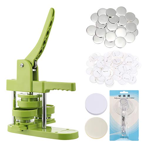 Installation-Free Button Maker Machine kit 58mm (2¼ in) DIY Pin Button Maker Press Machine Badge Punch Press with Free 100pcs Button Parts&Pictures&Circle Cutter