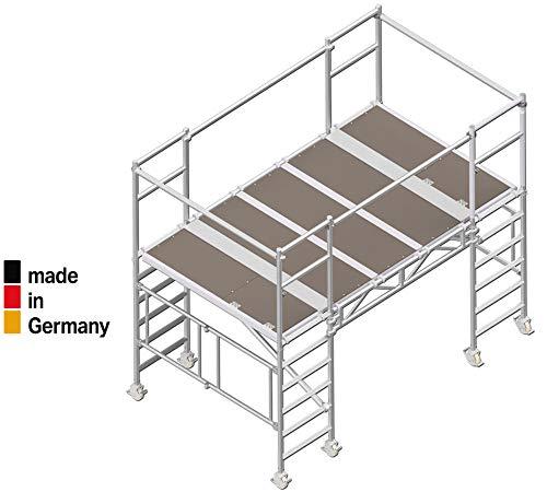 ALTEC AluDeck - 5,7 m² Arbeitsbühne (4 m) faltbar/klappbar Rollbock, inkl. Rollen,