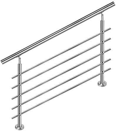 parapetto con o senza barre trasversali 150 cm, 5 barre trasversali corrimano in acciaio inox per scale LZQ
