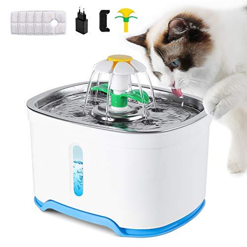 Wilktop Fuente para gatos con 5 filtros de carbón activo, ventana de nivel de agua, LED luminoso, 4 tipos de flujo de agua de fuentes, dispensador automático de agua para perros.