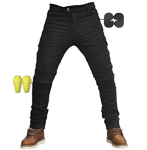 Hombre Motocicleta Pantalones Moto Jeans Con Motorcycle Biker Pants Negro (L- (Waist 34.5
