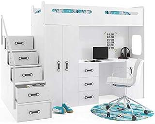 Interbeds Lit Mezzanine Max 4 en 80x200 avec Bureau, Armoire, Matelas, sommier et escalier (Blanc+Blanc)